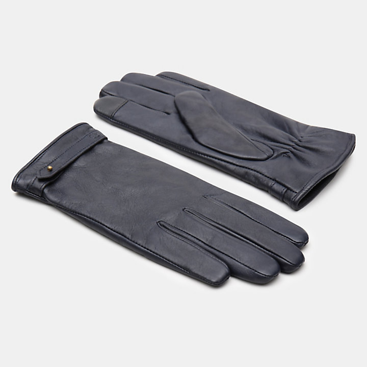 Leather Touchscreen Gloves for Women in Navy-