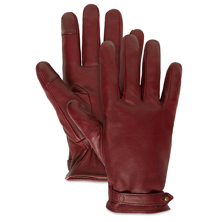 Touchscreen-Lederhandschuhe für Damen Burgunderrot-