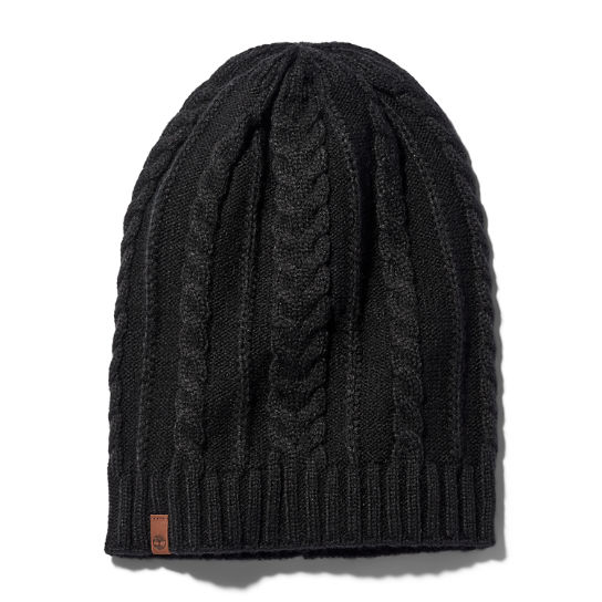 Cable Knit Slouchy Beanie for Women in Black | Timberland