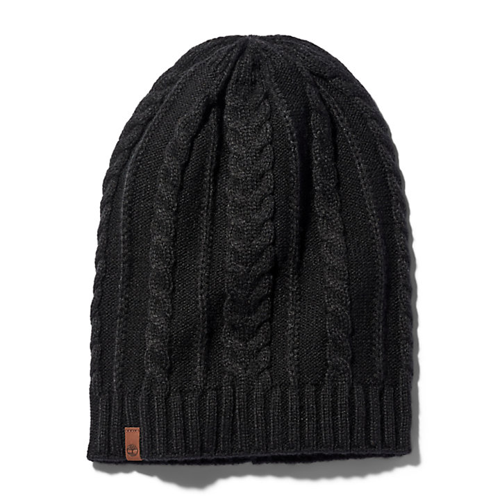 Cable Knit Slouchy Beanie for Women in Black-