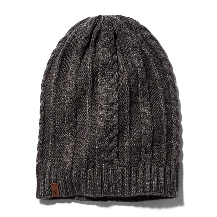 Cable Knit Slouchy Beanie for Women in Grey-