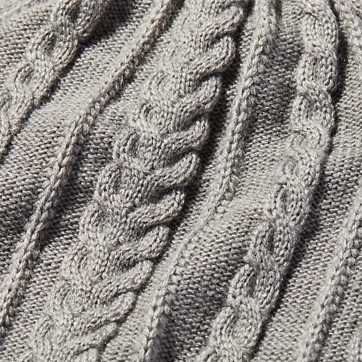 Gorro Holgado en Punto Trenzado para Mujer en gris claro-