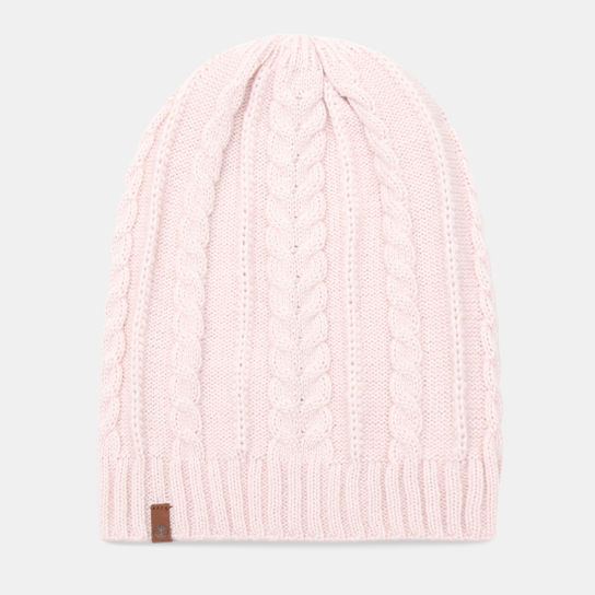 Cable Knit Slouchy Beanie for Women in Light Pink | Timberland