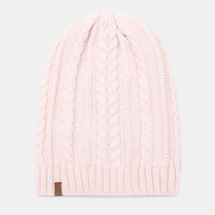Cable Knit Slouchy Beanie for Women in Light Pink-