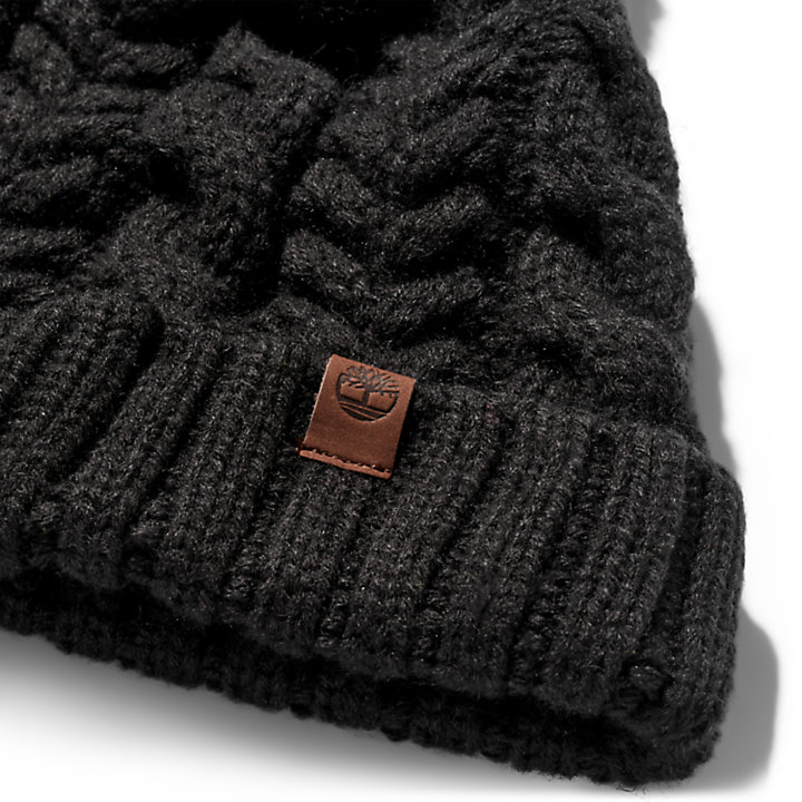 Cable-knit Beanie Hat for Women in Black-