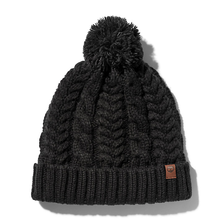 Cable Pom-Pom  Watch Cap for Women in Black-
