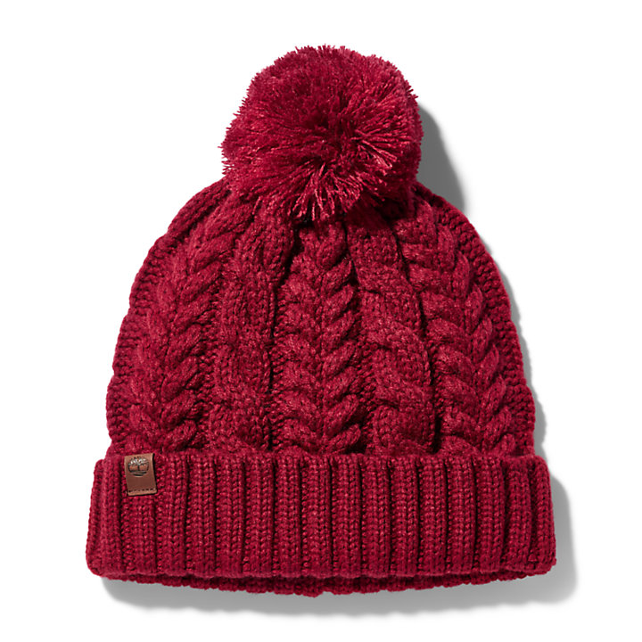 Cable-knit Beanie Hat for Women in Red-