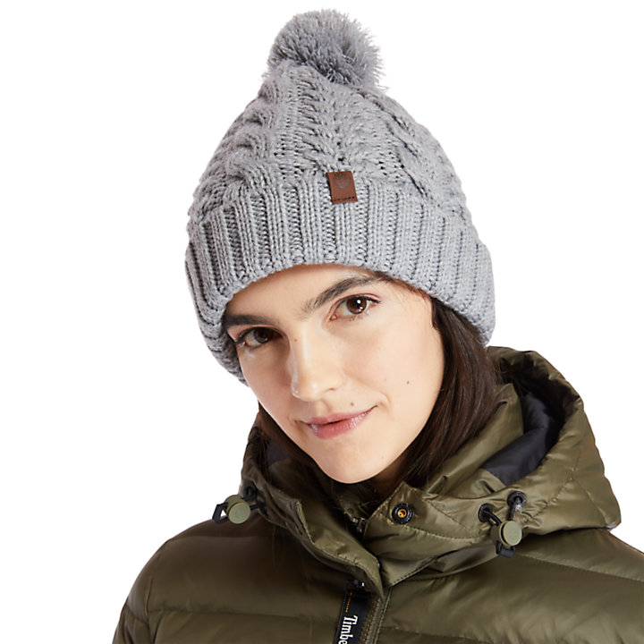 Cable-knit Beanie Hat for Women in Grey-