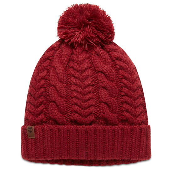 Cable Pom-Pom  Watch Cap for Women in Red | Timberland