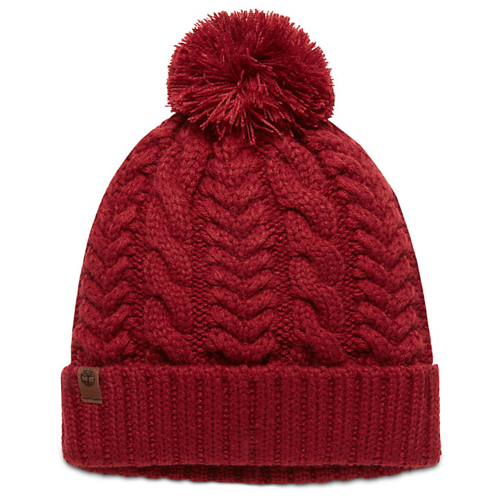 Cable Pom-Pom  Watch Cap for Women in Red-