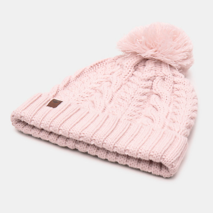 Cable Pom-Pom  Watch Cap for Women in Pink-