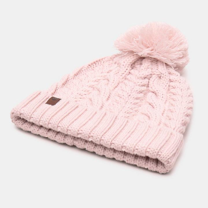Bonnet torsadé avec pompon pour femme en rose-