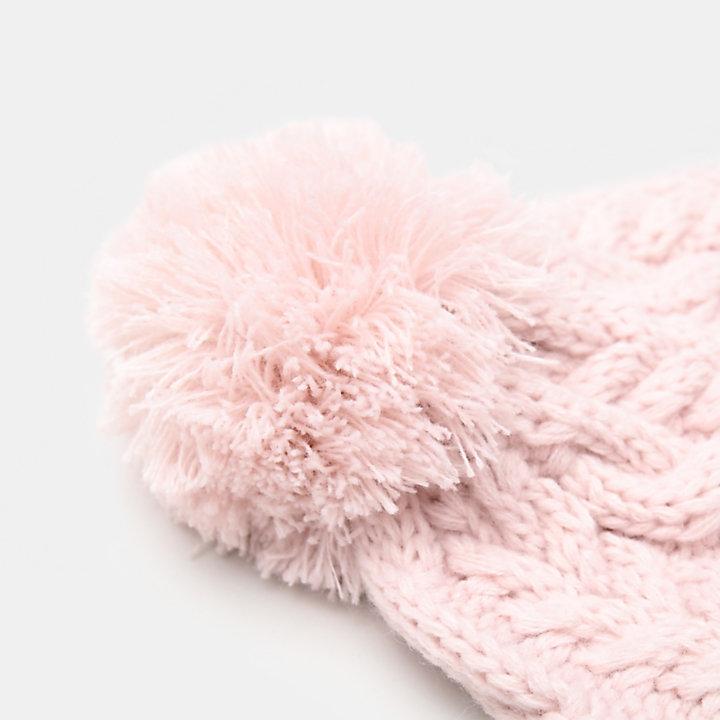 Pudelmütze mit Zopfmuster für Damen in Pink-