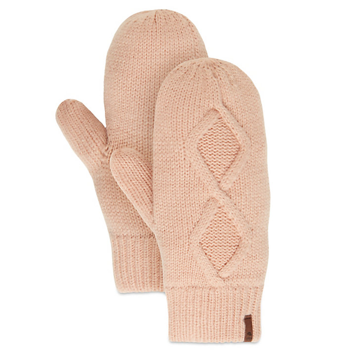 Cable Knit Mittens for Women in Pink-