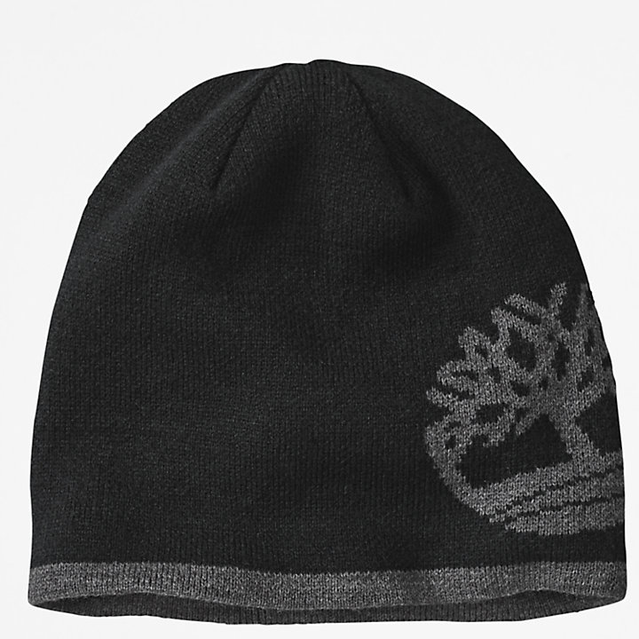 Reversible Tree-logo Beanie for Men in Black-