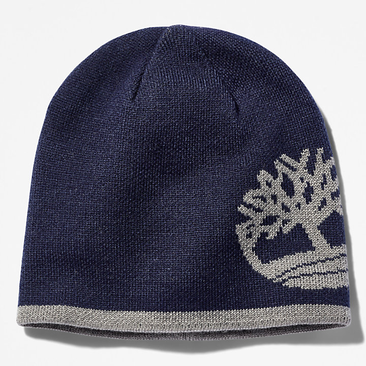 Reversible Tree Beanie for Men in Navy-