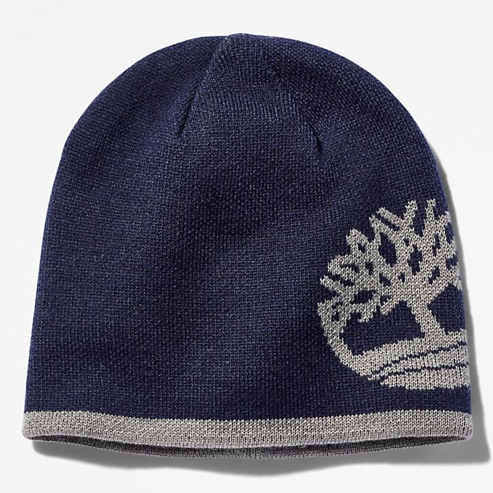 Bonnet réversible à logo arbre pour homme en bleu marine-