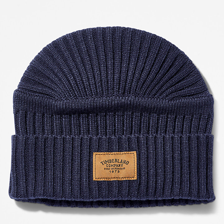 Gulf Beach Ribbed Beanie for Men in Navy-