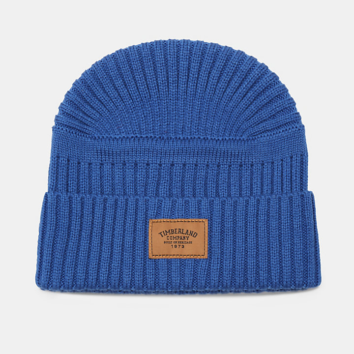 Gulf Beach Ribbed Beanie for Men in Blue-