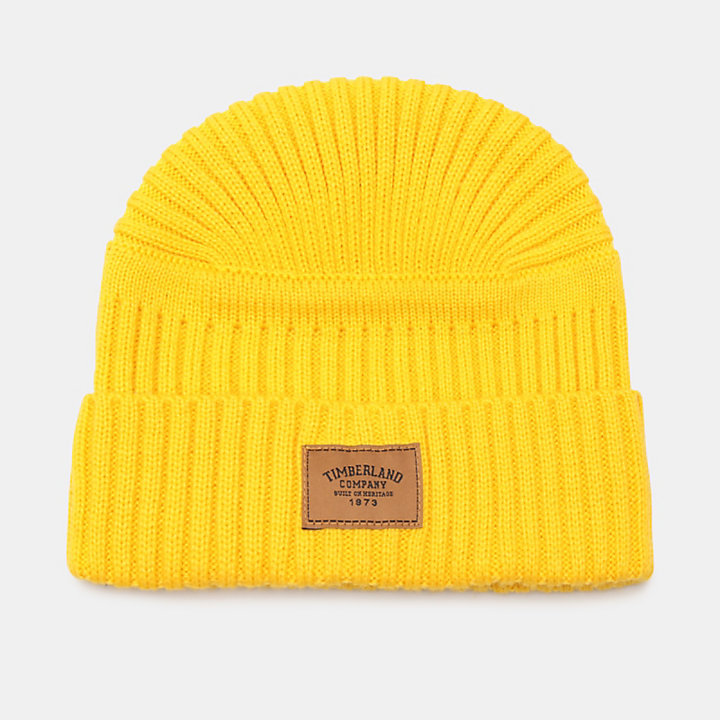 Gulf Beach Ribbed Beanie for Men in Yellow-
