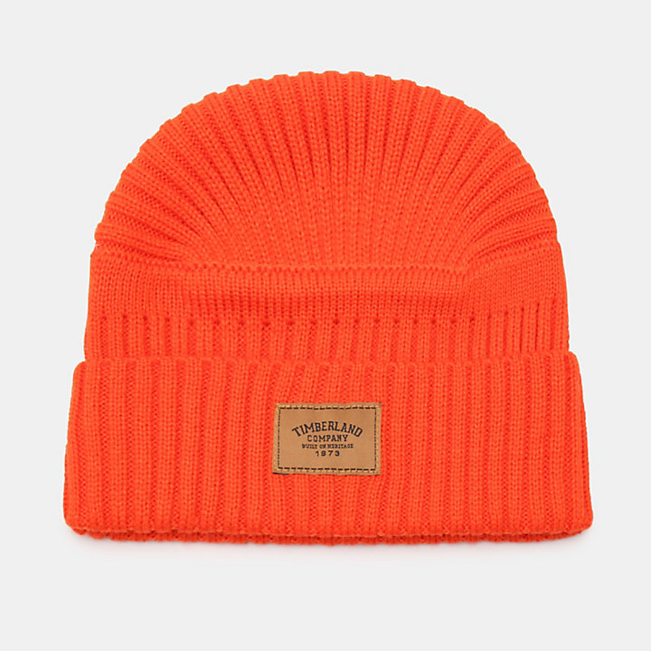 Gulf Beach Ribbed Beanie for Men in Orange-