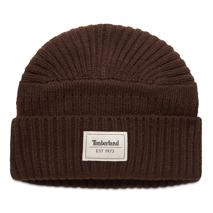 Gulf Beach Ribbed Beanie for Men in Brown-