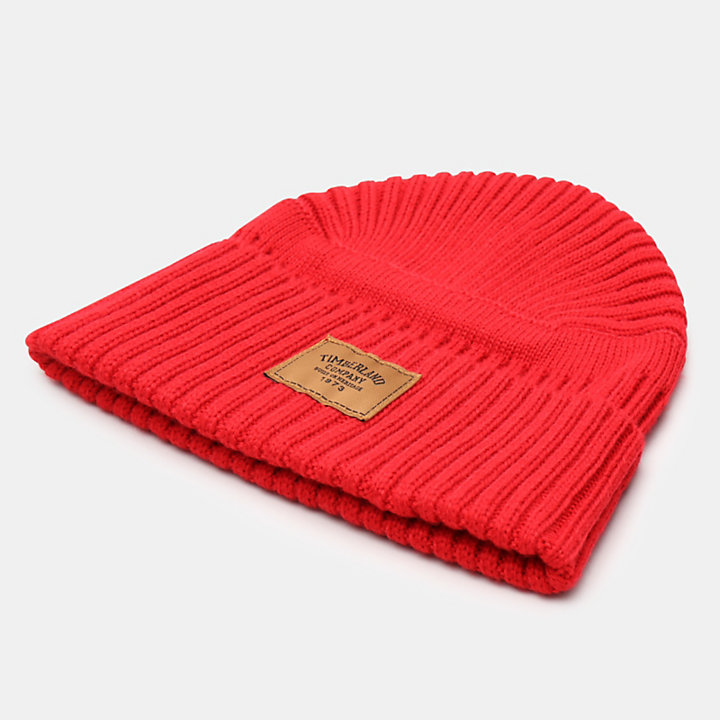 Gulf Beach Ribbed Beanie for Men in Red-