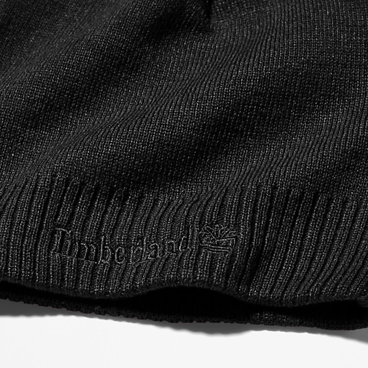 Knitted Logo Beanie for Men in Black-