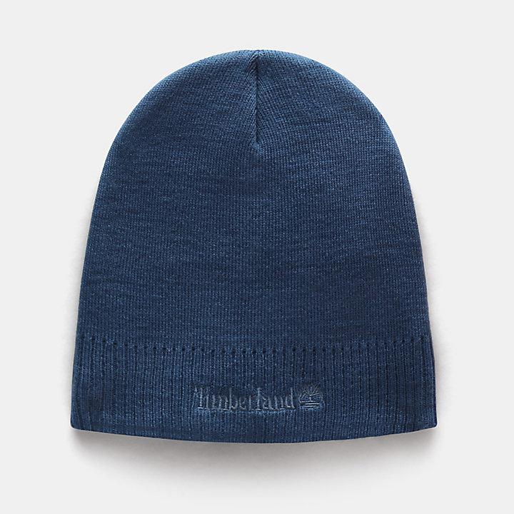 Bonnet tricoté à logo pour homme en bleu-