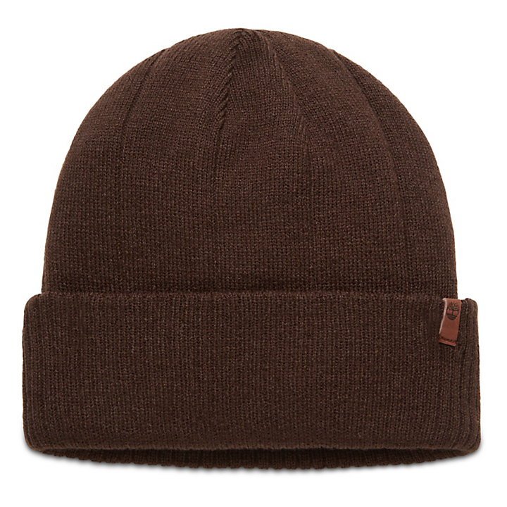 Beanie with Ribbed Cuff for Men in Brown-