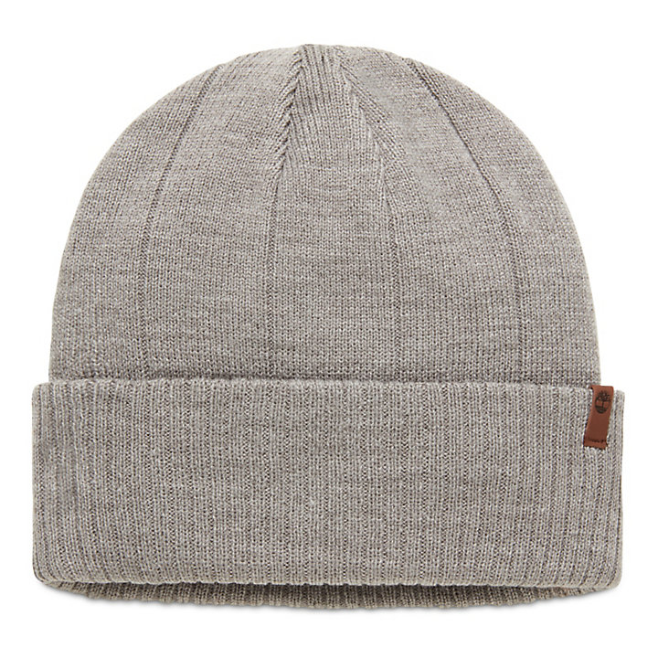 Beanie with Ribbed Cuff for Men in Grey-