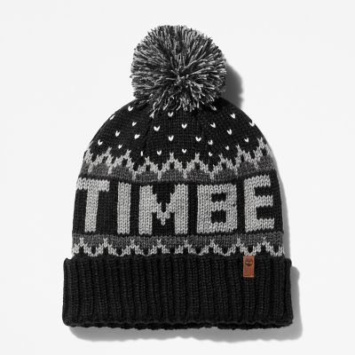 Logo+Pom+Pom+Hat+for+Men+in+Black