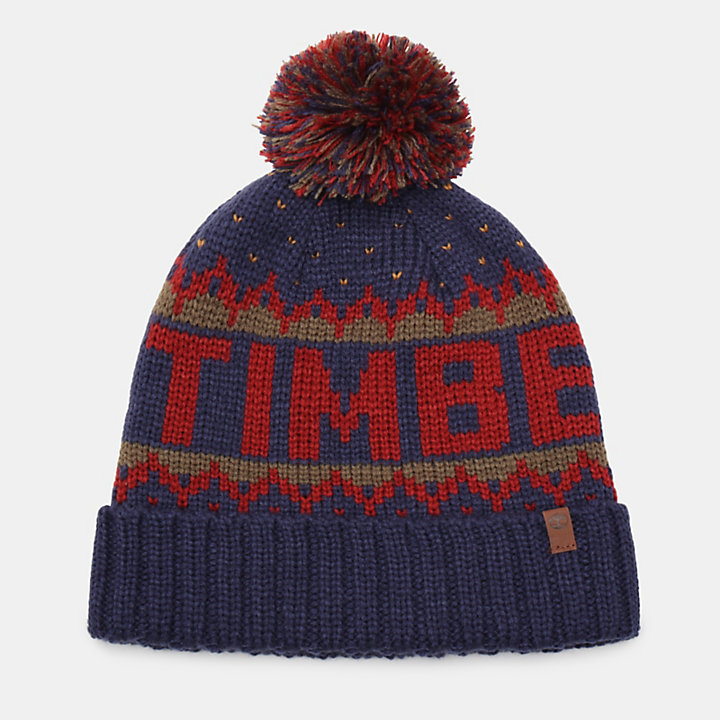 Logo Pom Pom Hat for Men in Navy-