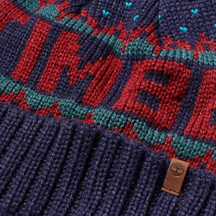Winter Logo-knit Beanie for Men in Red-