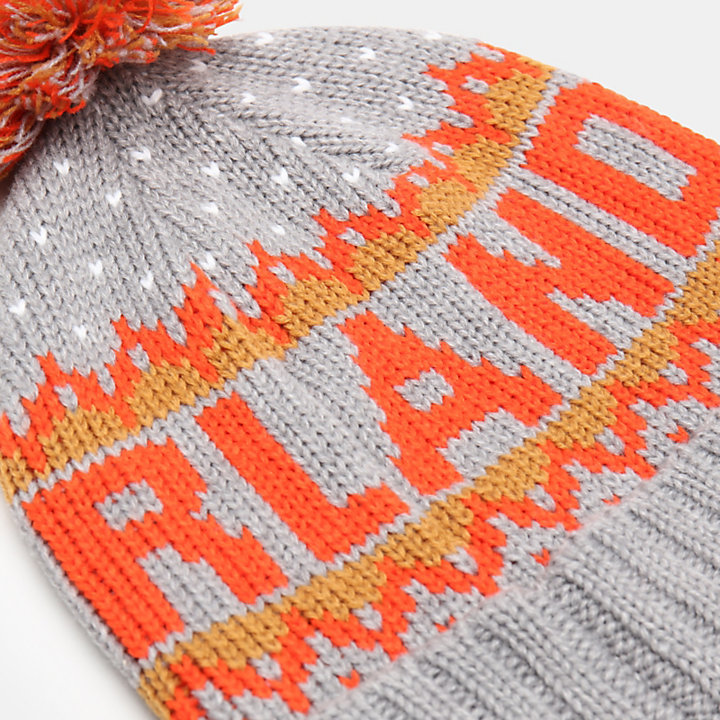 Logo Pom Pom Hat for Men in Grey-