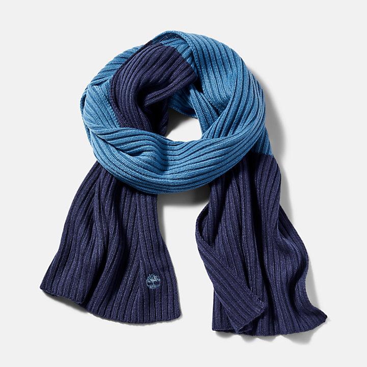 Écharpe côtelée color-block pour homme en bleu marine-