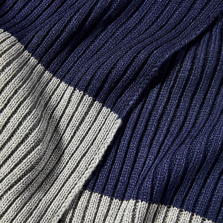 Colour-Block Ribbed Scarf for Men in Grey-