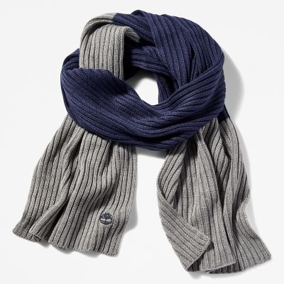 Colour-Block+Ribbed+Scarf+for+Men+in+Grey