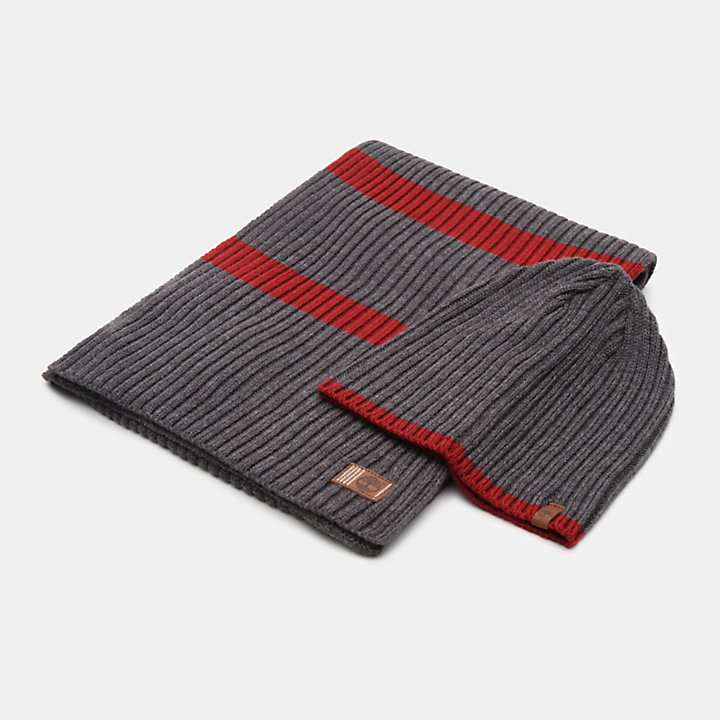 Ribbed Stripe Gift Set for Men in Grey-