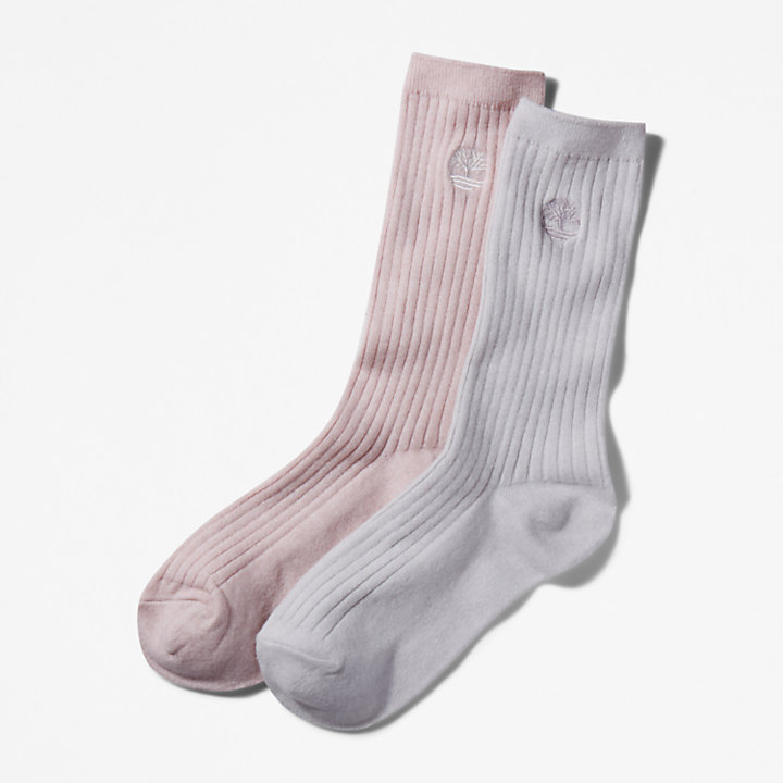 Two Pair Ribbed Boot Socks for Women in Pink/Grey-