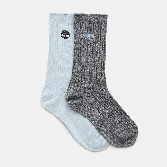 Two Pair Pack Ribbed Socks for Women in Blue | Timberland