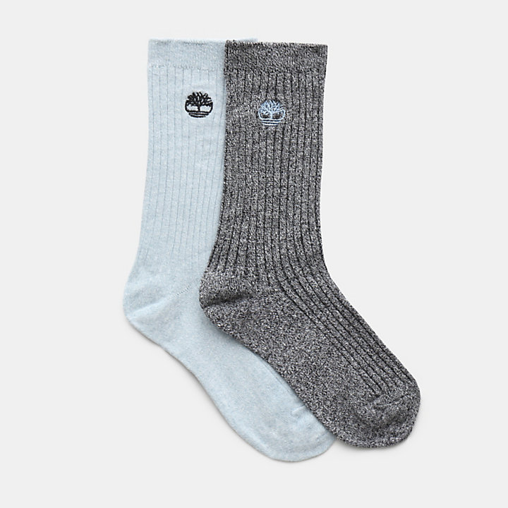 Two Pair Pack Ribbed Socks for Women in Blue-