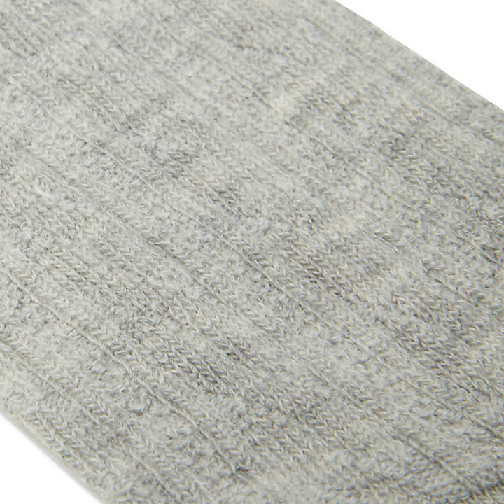 Wool Blend Ribbed Crew Socks for Women in Grey-