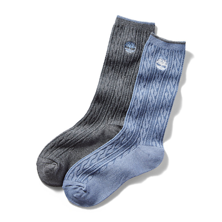 Two Pair Pack Cable Socks for Women in Grey/Blue-
