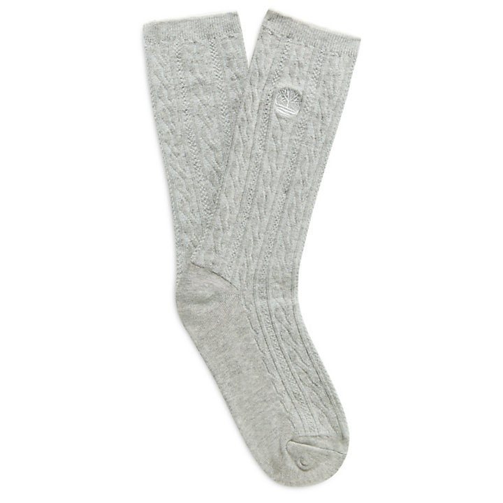 Two-Pair Cable Knit Socks for Women in Grey/White-