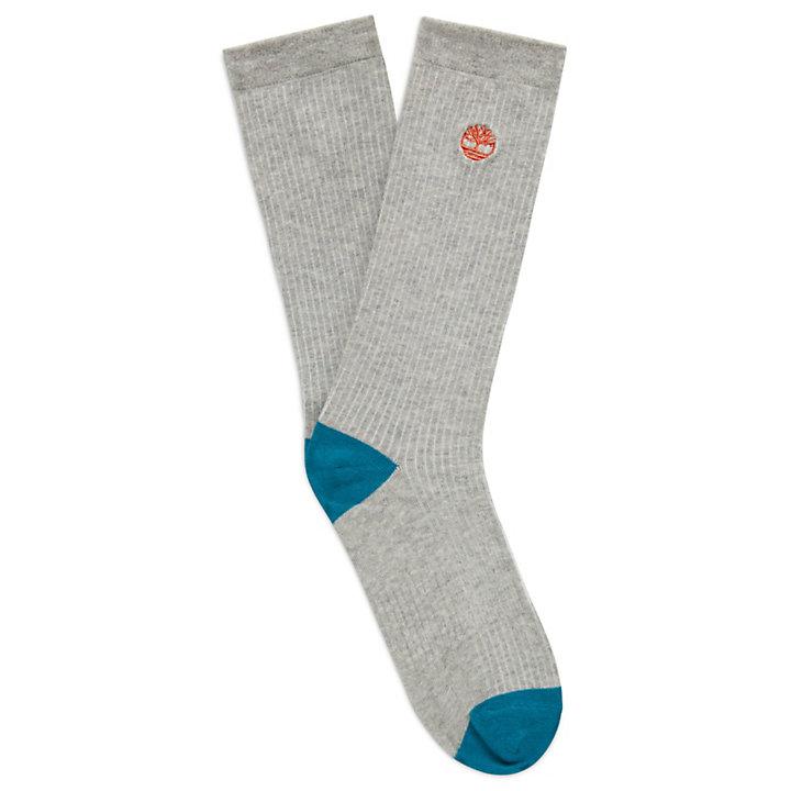 3 Pairs Striped Crew Socks for Men in Grey-