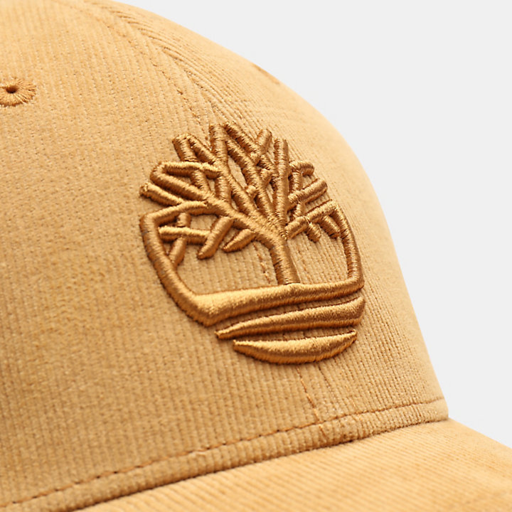 Corduroy Baseball Cap for Men in Yellow-