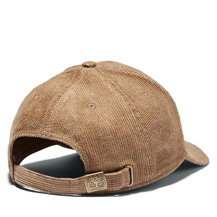 Cotton Corduroy 6-panel Cap for Men in Light Brown-