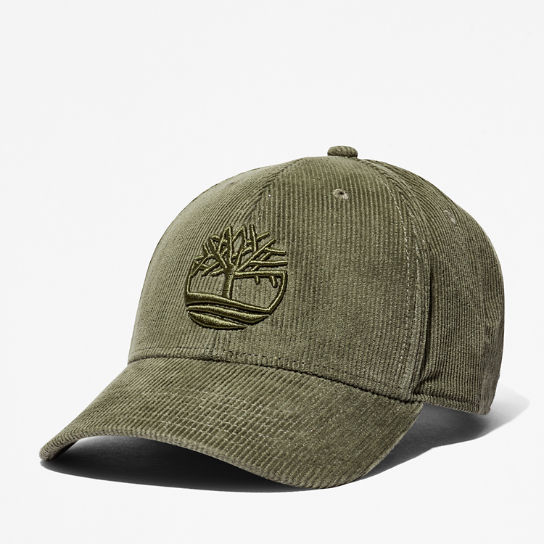 Cotton Corduroy Baseball Cap for Men in Green | Timberland