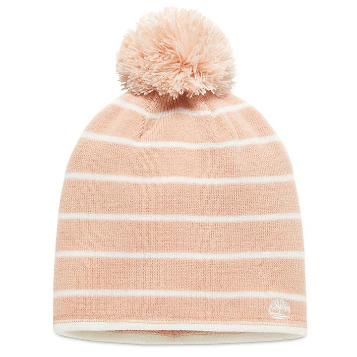 Bonnet réversible avec pompon pour femme en rose-
